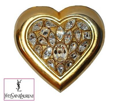 Gorgeous Vintage Yves Saint Laurent Ysl Gold Heart Compact Clear Rhinestones
