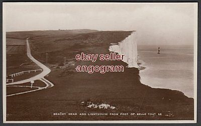 SUSSEX REAL PHOTO POSTCARD - Beachy Head Lighthouse from Foot of Belle Tout 62