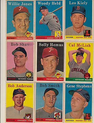 Topps 1958 Baseball Cards-Select from a list