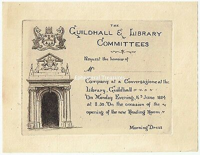 Superb 1884 engraved Cambridge Guildhall Ticket for opening of Reading Room