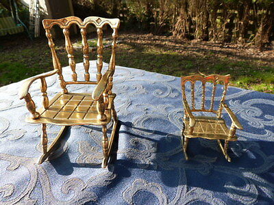 Two Miniature Vintage Brass Rocking Chairs.
