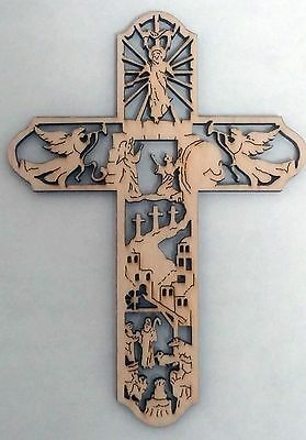The Life of Christ Scenes on Laser Cut Birch Wood Made in USA Cross
