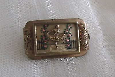 VINTAGE DECO -1950s GOLD TONE CELLULOID BALLERINA HAND PAINTED ROSES  FRENCH BRO