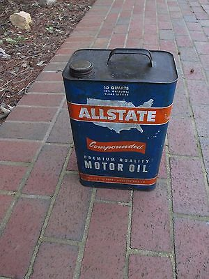 Vintage ALLSTATE Motor Oil Metal Tin Can 10 Quart / 2.5 GALLON CAN