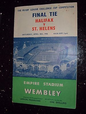 HALIFAX v ST HELENS    RUGBY LEAGUE CHALLENGE  CUP  FINAL MATCH PROGRAMME 1956