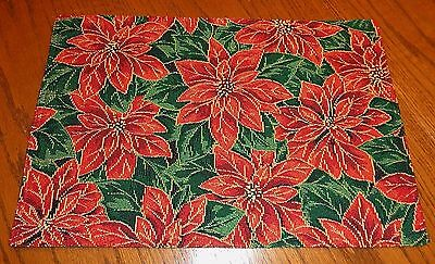 Christmas Poinsettia Motif Tapestry Placemat 13 x 19