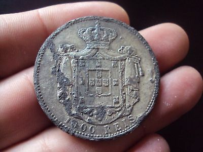 Portugal 1000 Reis 1899 D.carlos I  Falsa/epoch Forgery Coin #3050
