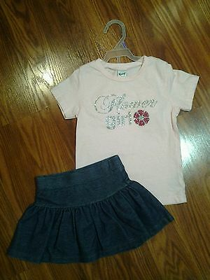 Girls Pink Flower Girl Shirt and Skorts  size 3T