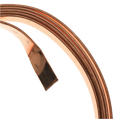 Artistic Wire, Flat Craft Wire 5mm 21 Gauge Thick, 3 Foot Coil, Bare Copper