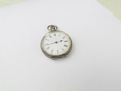 Antique Solid Silver Ladies Pocket Watch Fob Pendant Working Order