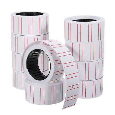10 Rolls Price Label Paper Tag Sticker MX-5500 Labeller Gun White Red Line ñf