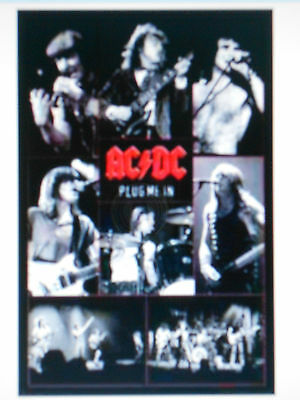 Ac/dc Plug Me In Band Black & White Collage Poster New