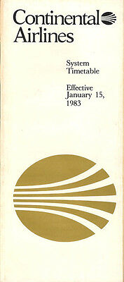 Continental Airlines system timetable 1/15/83 [308CO] Buy 2 Get 1 Free