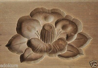ANTIQUE JAPANESE KASHIGATA Hand Carved Wooden Cake Mold w/ Cover - Camellia
