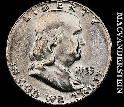 1955 Franklin Half Dollar- Choice Gem Brilliant Unc !! Key Date !! #p5535