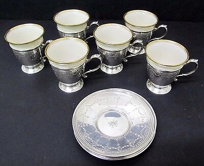 Gorgeous Tiffany & Co. Sterling Teacups W/ Lenox Porcelain Inserts (Set Of 6)