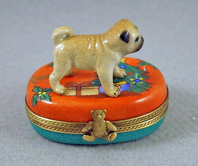 New Authentic French Limoges Trinket Box Cute Pug Dog Puppy On Christmas Box