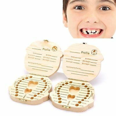 Kids Baby Tooth Box Organizer Save Milk Teeth Wood Storage Box For Boy&Girl TO