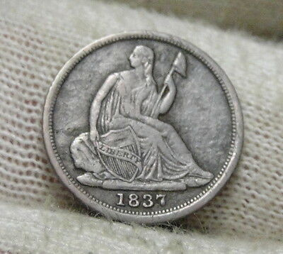 1837 Seated Liberty Half Dime H10C No Drapery - Nice Coin, Free Shipping (5693)