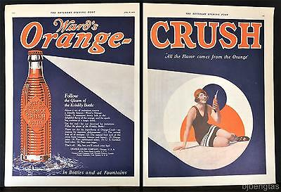 1925 Orange Crush Krinkly Bottle Gleam Swimming Suit Cap 2-Page Vintage Ad