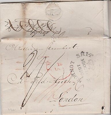 1830 MARITIME ROTTERDAM STEAMBOAT ~ LONDON SHIP LETTER TO FRED HUTH & Co