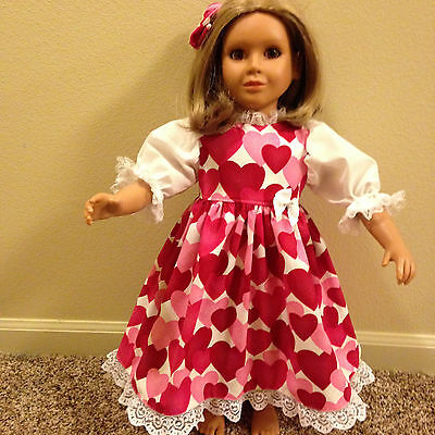 """BEAUTIFUL RED & PINK HEART'S  DRESS & HAIR BOW made to fit the 23"""" MY Twinn DOLL"""
