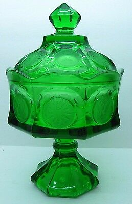 Fostoria Coin Glass Emerald Green Wedding Bowl with Lid