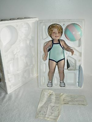 """Danbury Mint Porcelain Shirley Temple Bathing Beauty 17"""" Doll With Box & Papers"""