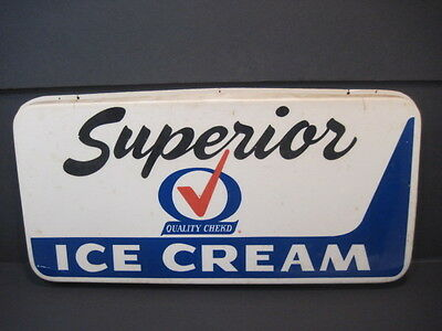 Old Vintage Superior Ice Cream Sign Light Cover Dairy Advertising