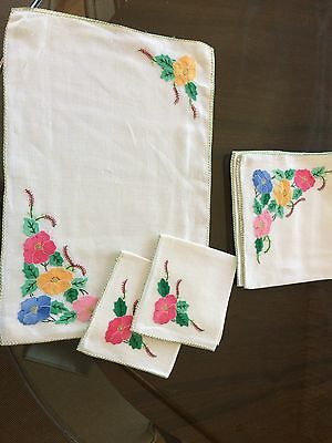 Vintage Embroidered Place Mat Plus Napkin And Extra enter Mat