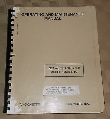 Wavetech Operating Maintenance Manual Network Analyzer 1038 N10 - 1983