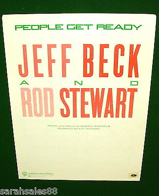 PEOPLE GET READY 1985 Sheet Music Jeff Beck, Rod Stewart Curtis Mayfield NO TAPE