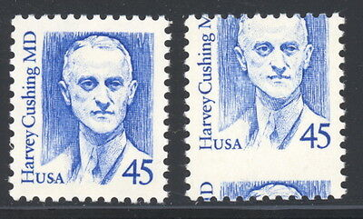 US 2188 normal & horiz misperfed stamps - mnh 45 cents Harvey Cushing MD EFO