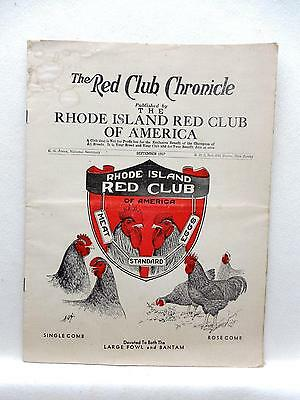 Rhode Island Red Club of America Chronicle Sept 1957 Magazine Plus Prints 1948