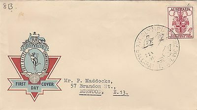 Olympic Games 1956 stamp 4d issue on Hermes cover, rowing commemorative postmark
