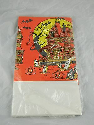 Childs Cartoon Halloween Party Disposable Paper Tablecloth Cover Retro Vtg 80s