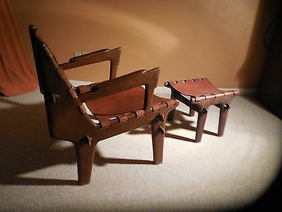 Mid-Century Modernist Angel Pazmino Leather/rosewood Chair & Ottoman Furniture