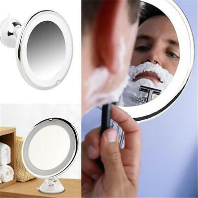 LED Lighted Makeup Mirror Face 7X Magnification Round Wall Mount Vanity Bathroom
