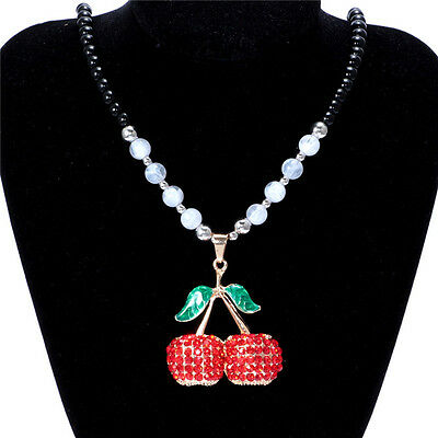 Women's Vintage Cherry Fashion Jewelry Hot Charm Crystal Pendant Necklace D5