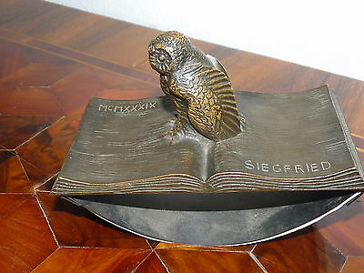 Super Seltene antike BRONZE SCULPTURE - FIGURAL Eule BLOTTER- SIGNED SIEGFRIED
