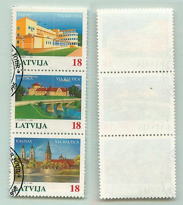Latvia, 1995, SC 395, used, strip of 3 from s/s. e4307