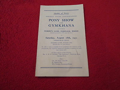 Oakdale Young Conservatives Pony Show & Gymkhana Schedule Of Events 1951
