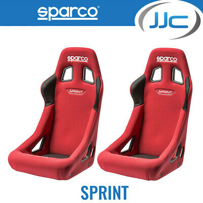 2 x Sparco Sprint Car Bucket Seats Pair - Standard Size - FIA Approved - Red