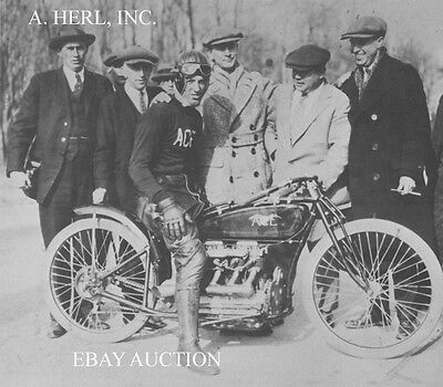 Ace 129mph record session & Charles 'Red' Wolverton 1923 - motorcycle photo