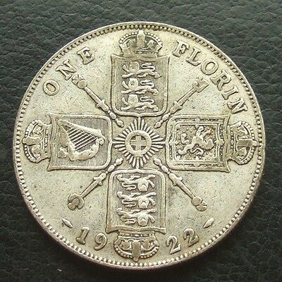 GB 1922 Florin / 2 Shillings : King George V : British Silver Coin Auction