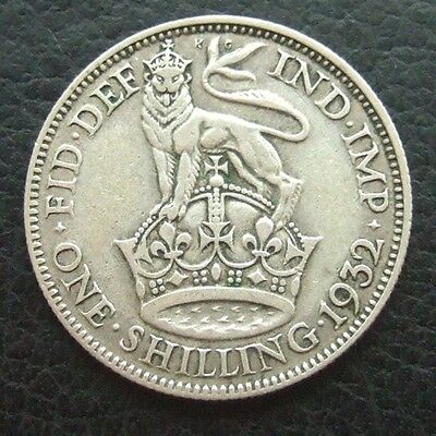 GB 1932 Shilling : King George V : British Silver Coin Auction