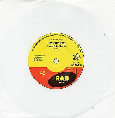 Gay Poppers  I Want To Know/you Got Me Up Tight Uk Outtasight  R&b  R&b/northern