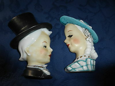 Vintage Pair of Ceramic Head Wall Pockets, heads 1950's