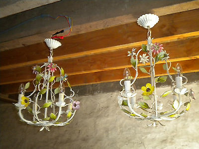 Pair of Vintage French tole ware Flower lamp Chandelier 4 arm basket types