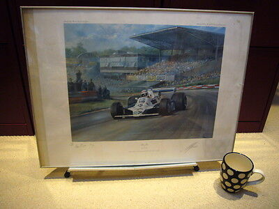 Alan Jones by Alan Fearnley, limited edition print signed by driver and artist